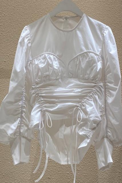 Korea 2020 Autumn New Irregular Drawstring Lace-up O Neck White Shirts Women New Design Fashion Women Blouses C200 4
