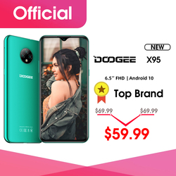 Перейти на Алиэкспресс и купить new doogee x95 android 10 4g-lte cellphones 6.52дюйм. display mtk6737 16gb rom dual sim 13mp triple camera 4350mah battery