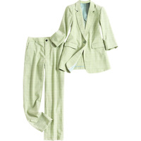 Fashion High Quality Women Celebrity Style Fashion Pants Suits Blazer Pencil Trousers Green Plaid Print Twin Sets M 3XL