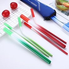 1PCS Gradient Color Metal Straw Reusable Straight Bent 304 Stainless Steel Coffee Party Bar Accessory
