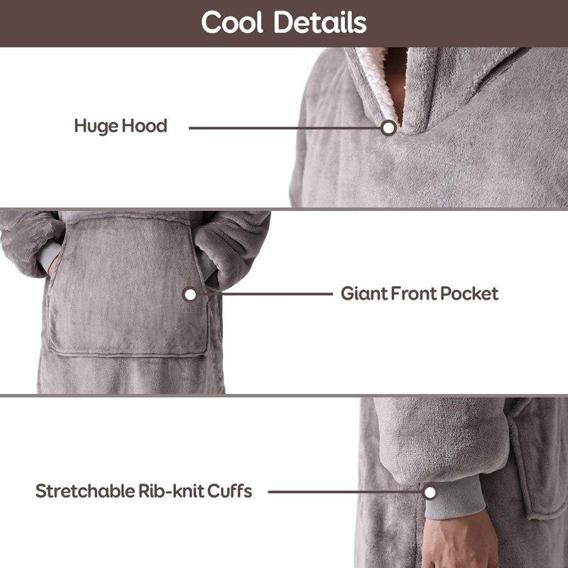 Oversize Hoodie Sofa Warm TV Blankets with Pocket Outdoor Hiking Hooded Sweatshirt Blanket-4