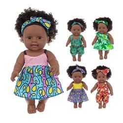 30cm lifelike reborn preto bebê bonecas brinquedos de vinil recém nascido inteligente corpo cachos vestido africano americano boneca crianças brinquedo para meninas presentes