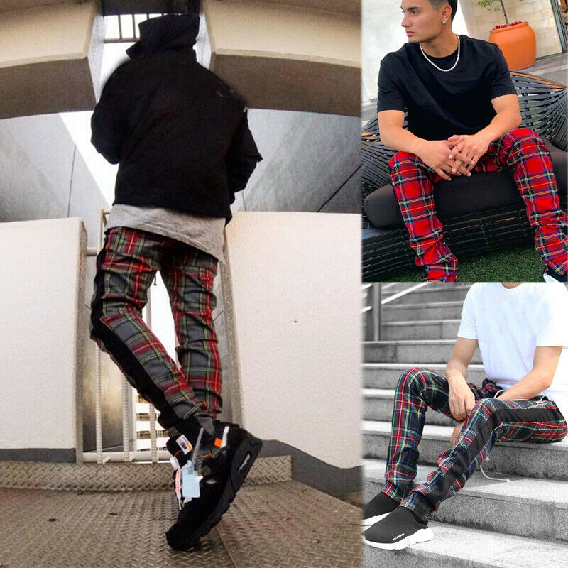 Mens Casual Pants Scotland Plaid Long Trousers Side Zipper Tracksuit Fitness Elastic Cotton Workout Trousers Male Modis Pants