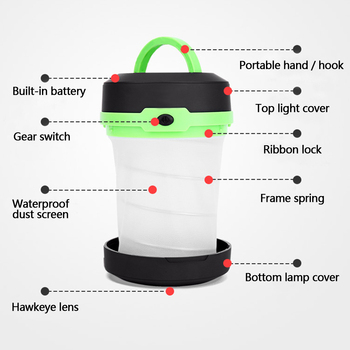 LED Multifunctional Telescopic Folding Camping Light Outdoor Flashlight Mini Tent Emergency Light Portable Pocket AA Flashlight 2