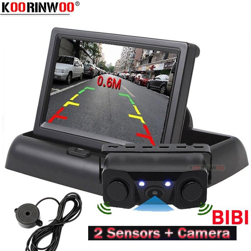 Koorinwoo Wireless AHD Car Video Parking Sensors Rear View Camera 2 Alarm With Monitor Foldable Dash Radars Parking Parktronic