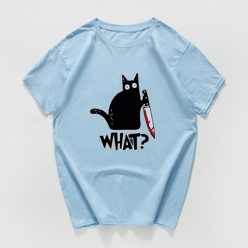 Cat What  funny T-Shirt men Vintage Graphic Cat With Knife Unisex tshirt men Novelty streetwear t shirt men homme men clothes 5