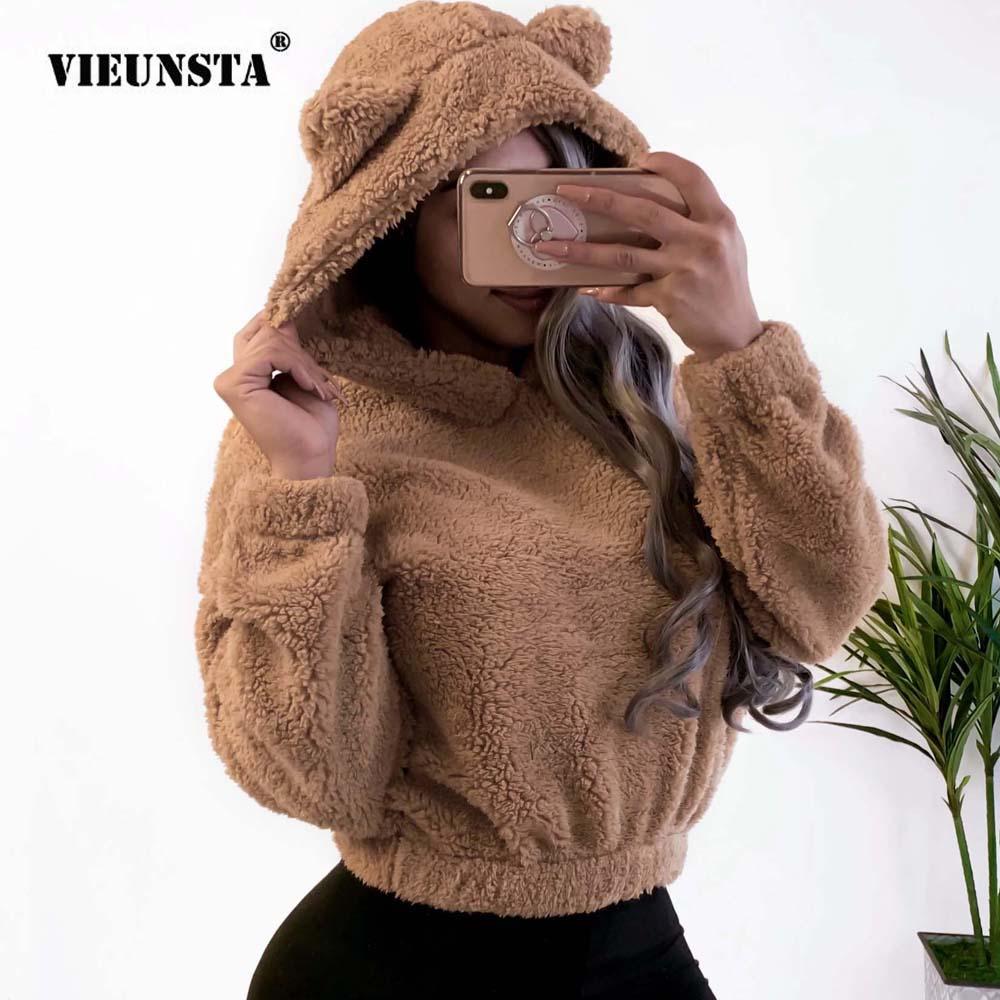 VIEUNSTA Women Sweatshirt Kawaii Fleece Fur Long Sleeve Hooded Autumn Winter Teddy Bear Ears Soft Hoodies Sweatshirt Pullover XL