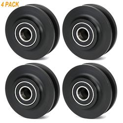 New Arrival Black 4Pc Sliding Barn Wooden Door Wheel Closet Hardware Track Roller Window Home Improvement Wheel