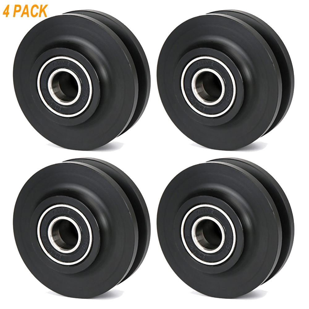 Rueda deslizante de madera para puerta de Granero, herraje para armario, Riel de ventana, rueda de mejora para el hogar, color negro, 4 piezas