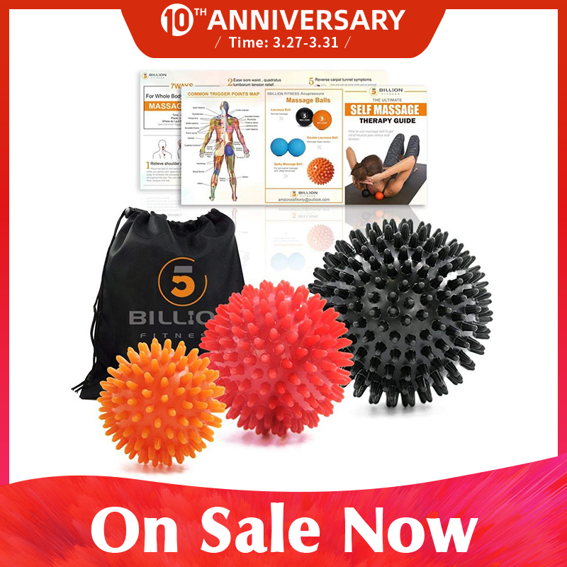 5BILLION Spiky Massage Balls Set Exercise Balls For Deep Tissue Massage Physical Therapy, Myofascial Release & Relax Muscles