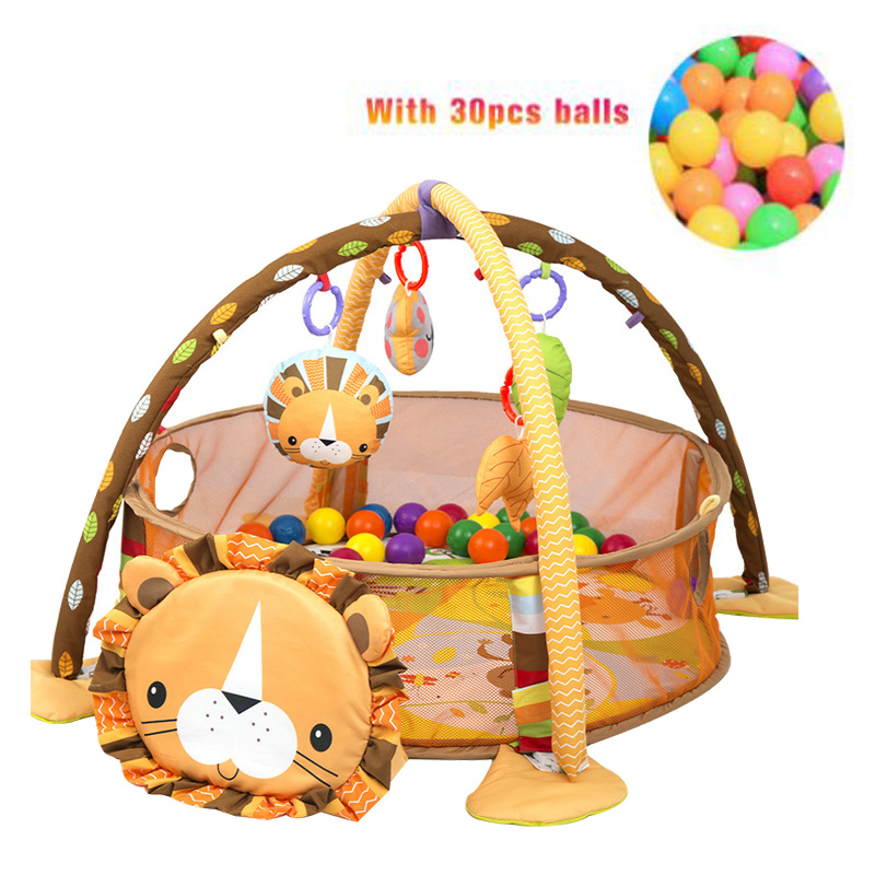 Lion Baby Play Mat 0-1 Year Playmat Gym Carpet Crawling Mat In The Nursery Turtle Toy Net Support 3-in-1 Marine Ball Pool Fence