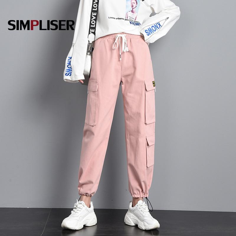 Pantalones Cargo Mujer 2019 Rosa Negro Pantalones Largos Cordon Cintura Alta Mujer Pantalones Casual De Chandal Bolsillo Mujer Pantalon Elastico Pantalones Y Pantalones Capri Aliexpress