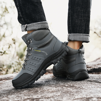Large Size Outdoor Durable Hiking Shoes Waterproof Anti-Skid Climbing Shoes Tactical Hunting Boots Trekking Sports Sneakers Men 6