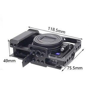 Image 5 - אלומיניום סגסוגת מצלמה כלוב מגן מקרה עבור Sony RX100 M7 VII 7 שחרור מהיר צלחת מייצב מתאם w/ 1/4 חוט חורים