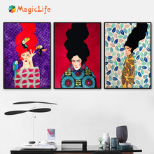 Abstract Girl Hair Flower bird wall art canvas painting Especially Nordic picture Living room Decoration unframed