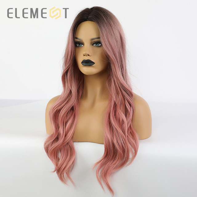Element Synthetic Long Natural Wave Black Root Ombre Pink Middle Part Wig Heat Resistant Cosplay Party Wig for White/Black Women