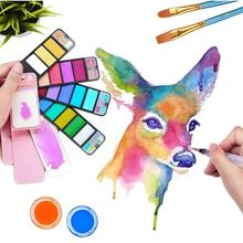 Superior Water Colour Solid Paint Pigment Set Portable 18/25/33/42 Color Drawing Painting Art with Blooming Brush Pen A6151