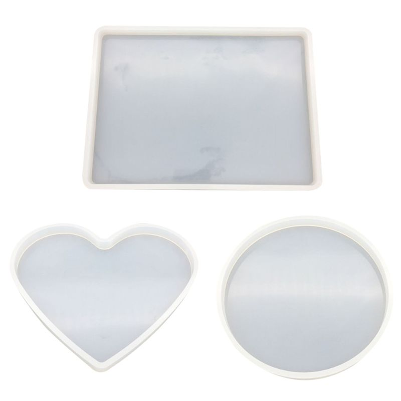 3 Pcs/set Crystal Epoxy Mould DIY Table Decoration Handmade Heart-shaped Round Square Silicone Mold