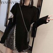 TVVOVVIN, индивидуальный свитер с кисточками и бриллиантами, женская одежда, Свободный пуловер с разрезом, вязаный Топ, модный осенний D232