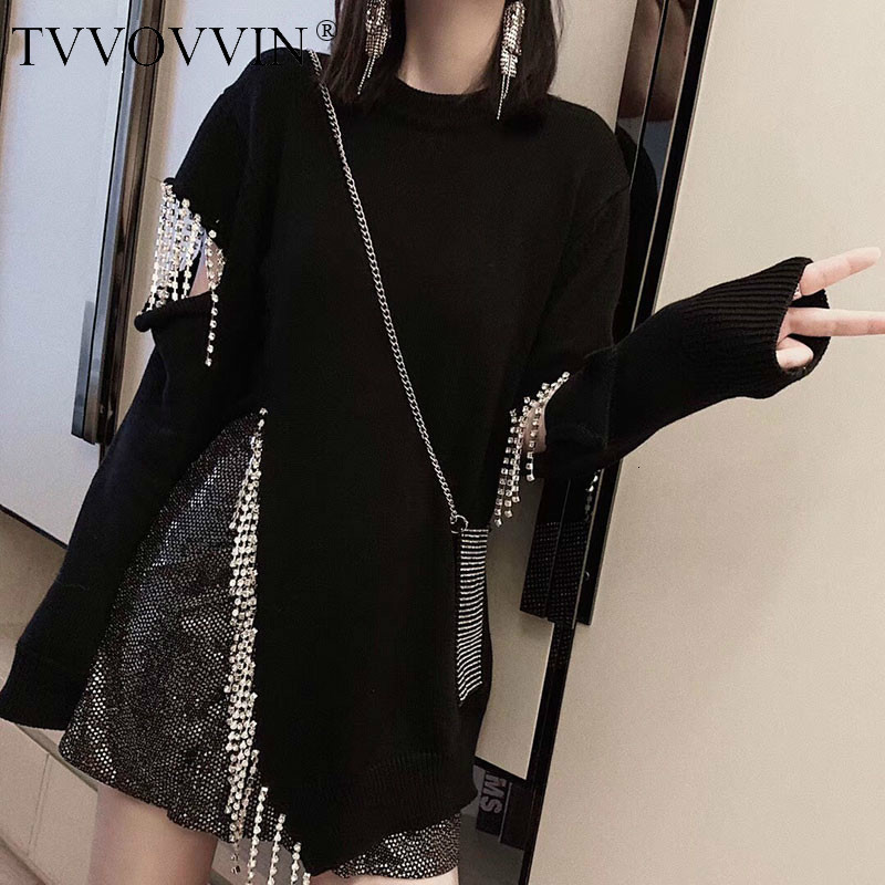 TVVOVVIN Personality Diamonds Tassel Sweater Women Clothes 2019 Loose Hollow Out Split Pullover Knitted Top Fashion Autumn D232