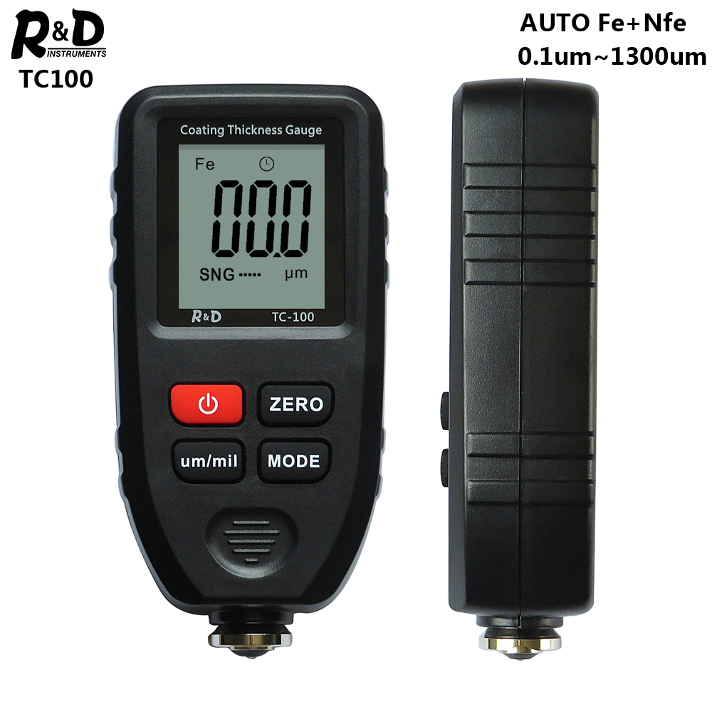 R amp D TC100 Coating Thickness Gauge Car Paint Film Thickness Tester Measuring FE NFE Russian Manual Paint Tool Black