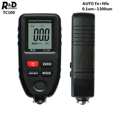 R&D TC100 Coating Thickness Gauge Car Paint Film Thickness Tester Measuring FE/NFE Russian Manual Paint Tool Black
