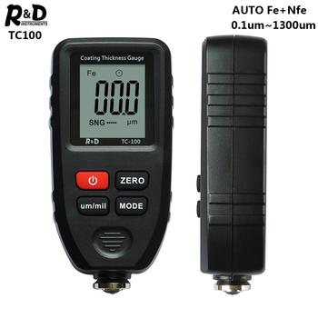 R amp D TC100 miernik grubości lakieru lakier samochodowy Film tester grubości pomiaru FE NFE rosyjski instrukcja narzędzie do malowania czarny tanie i dobre opinie R D INSTRUMENTS 0 1~1300um Fe Nfe Auto Detecting Fe Nfe one 9V battery