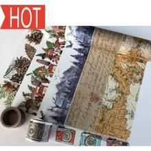 jiataihe washi tape map scrapbooking kawaii decorated vintage gold masking tape diy Map, English 1rolls/lot Free shipping