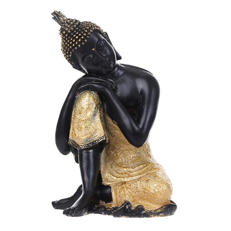 Accesorios de decoración de la Oficina de regalos de recuerdo de figurillas de Buda de la India para decoración del hogar Reflujo de incienso quemador creativo decoración del hogar cerámica Buda incienso titular incensario budista + 20 piezas conos de incienso regalo gratis
