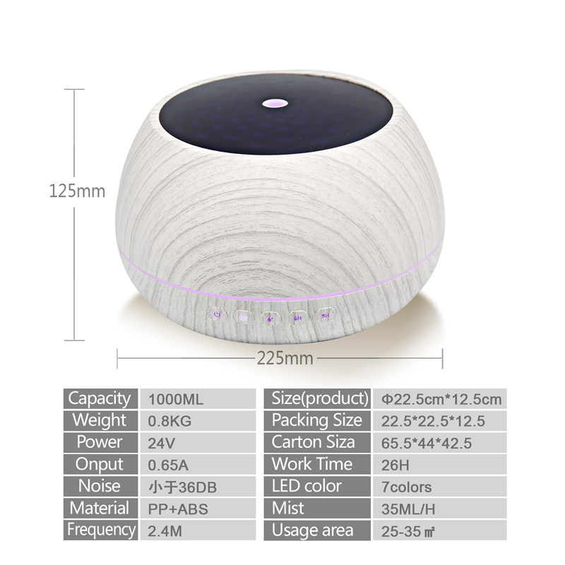 1000ML Multimedia Anion Essential Oil Diffuser With 7 Color Light Air Purify Wireless Stereo Speaker Aroma Diffuser For Home