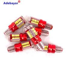 100 sztuk T10 LED 168 192 W5W 57 LED SMD 3014 samochodowa lampa obrysowa lampa parkingowa 57smd silnika żarówka klinowa biały adebayor