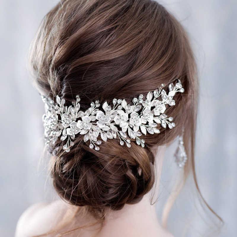 Flor acessórios para o cabelo casamento prata strass flor nupcial tiara bandana penteados de cabelo casamento jóias de cabelo