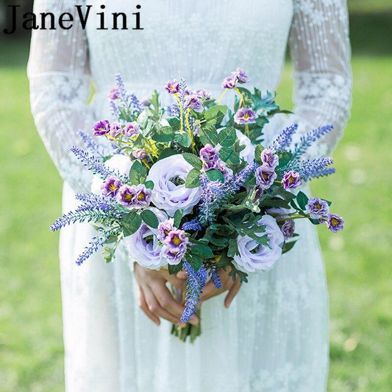 JaneVini Purple Lavender Bridal Silk Flower Bouquet Artificial Wedding Flowers Bouquets Sisters Bridesmaid Bouquet Paarse Rozen