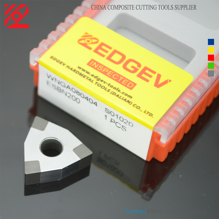 Купить с кэшбэком EDGEV 1PC CBN Inserts WNMG 080404 080408 080412 WNGA 080404 431 432 Boron Nitride PCBN Tipped Insert Lathe Turning tools
