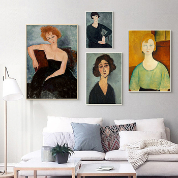 Jeanne Hebuterne Women Portrait Art Canvas Print Painting Amedeo Modigliani Christina Famous Wall Picture Home Decoration Poster image