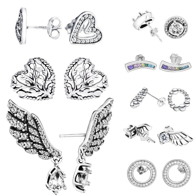Fashion 925 Sterling Silver Stud Earrings Sparkling Angel Wing Heart Earrings For Women Jewelry