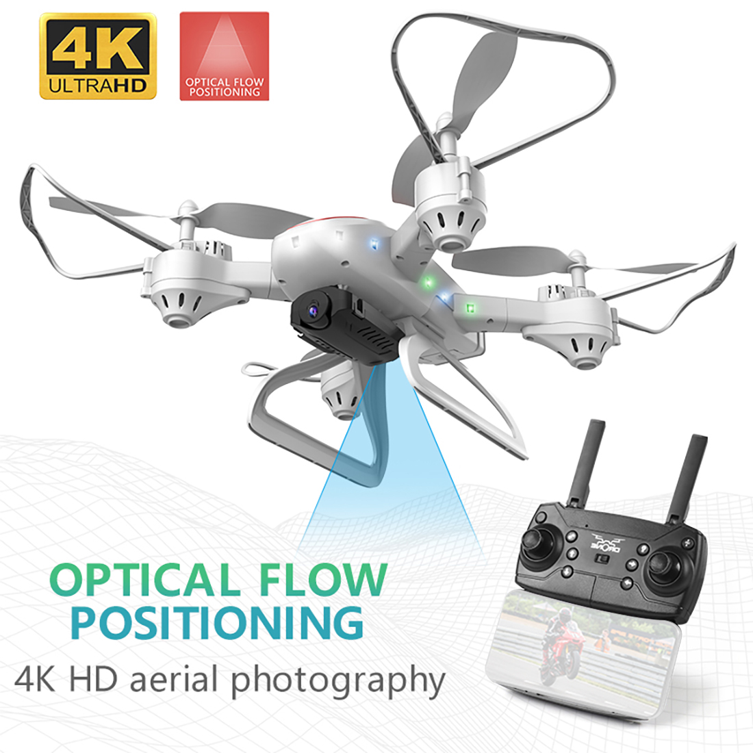 KY909 4K HD Camera Drone FPV WIFI Optical Flow Positioning RC Quadcopter Plane Folded Altitude Hold Long Battery Life Kids Toys