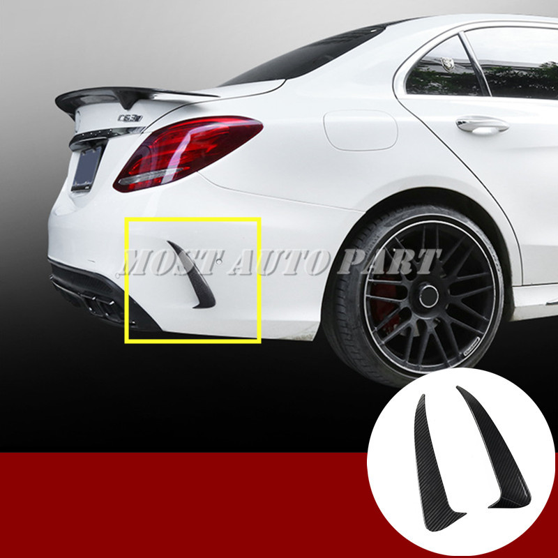 Black Rear <font><b>Bumper</b></font> Spoiler Air Vent Trim Cover For <font><b>Benz</b></font> C Class <font><b>W205</b></font> C43 C63 AMG 2014-2020 image