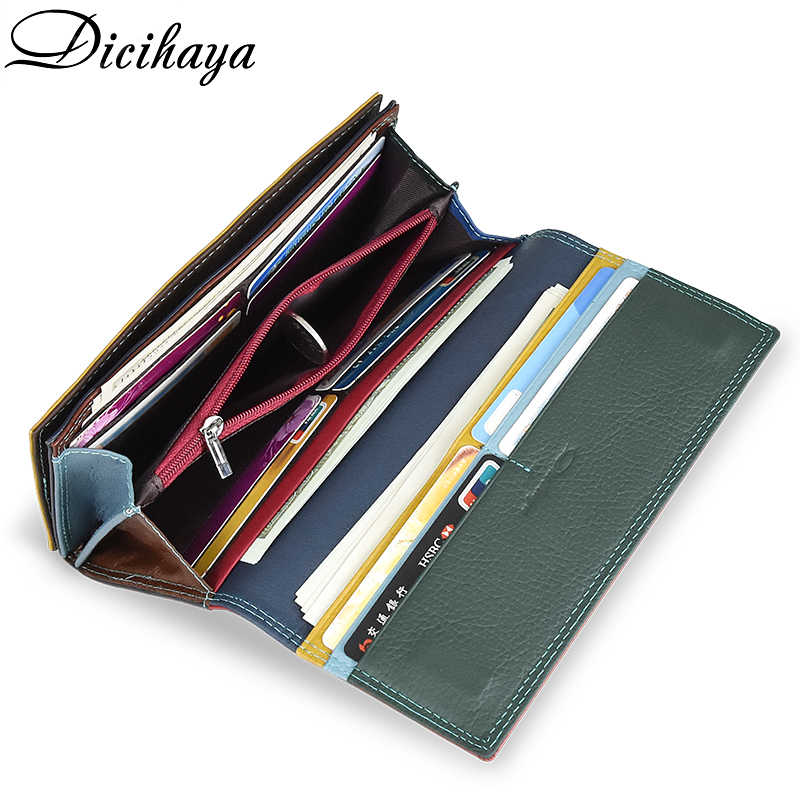 Dicihaya contraste cor couro genuíno carteira feminina bolsa feminina de couro de luxo longo bolsa de couro genuíno