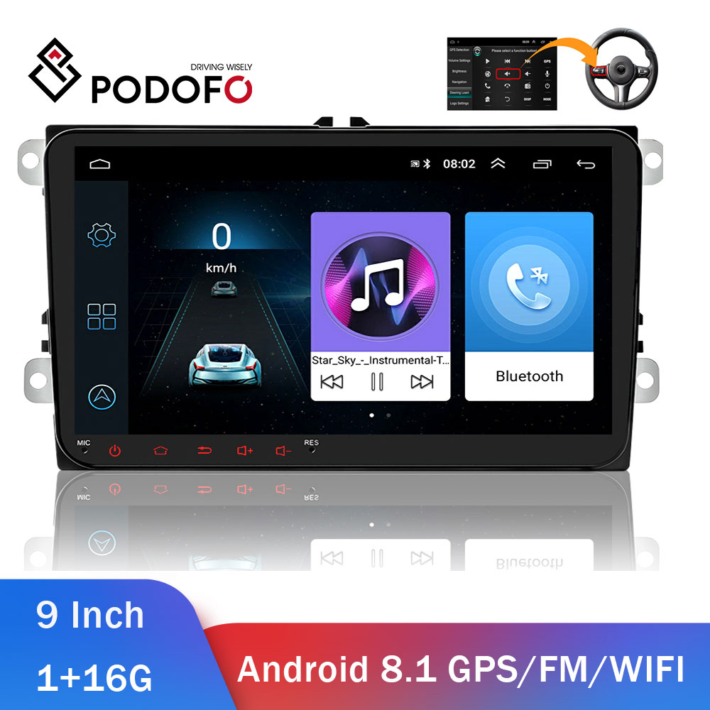 Pdofo 2din Car Radio Android Car Multimedia Player 2 Din Autoradio For VW/Volkswagen/Golf/Polo/Passat/asiento/Skoda Car Stereo