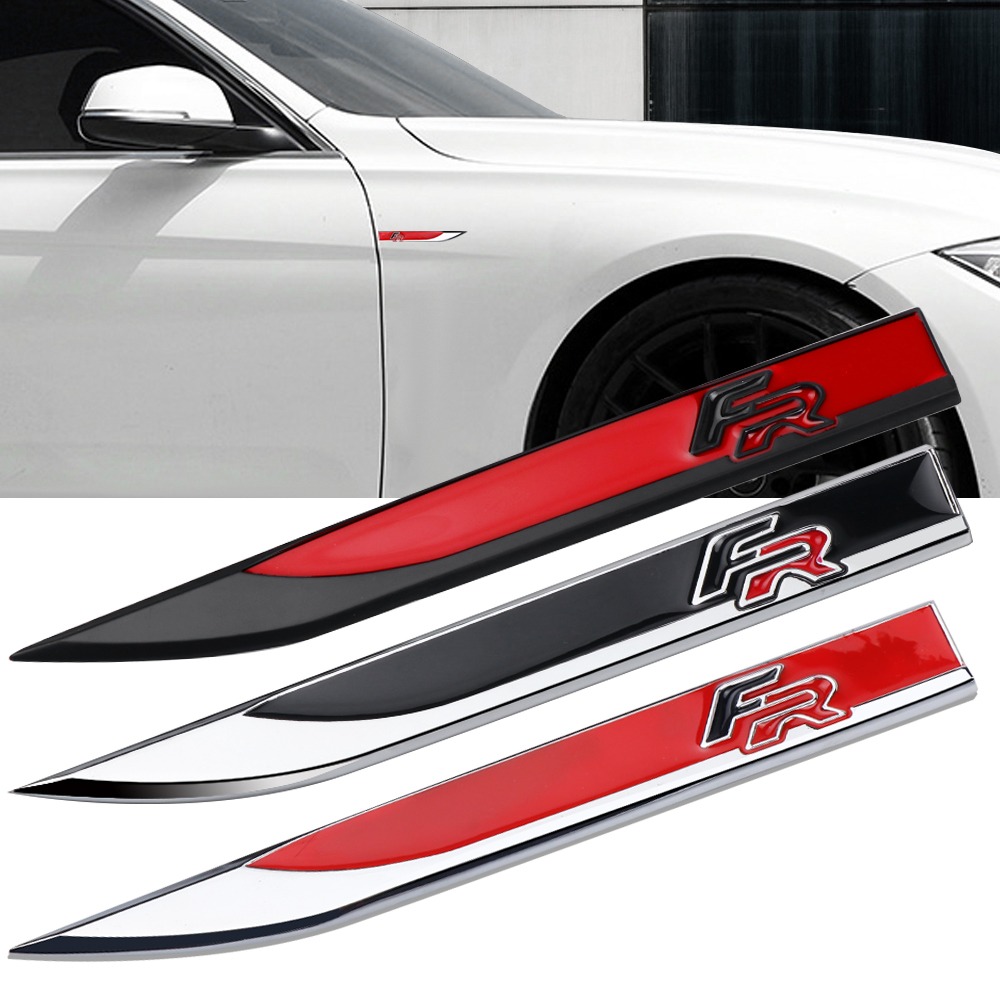 2Pcs 3D FR Emblem Car Body Fender Side Metal Stickers Decals For Audi BMW SEAT Ibiza Leon Altea Car Styling Accessories