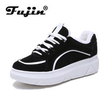 Fujin Women Sneakers Winter Shoes boots Warm Wedges Platform PU Leather Casual Tenis Feminino