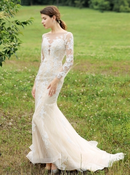 Long sleeve champagne lining lace wedding dress real photo bride gown factory price plus size