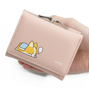 2020 Women Small Wallets New Cartoon Cute Corgi Doge Design Ladies Wallets PU Leather Female Short Money Purses With Coin Pocket(China)