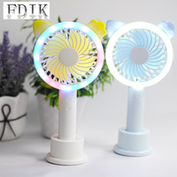 3W Carton Fan Lamp USB Charging Energy Saving Reading Book Light Moving Portable Dimmable Eye Protection LED Desk Lamp with Fan