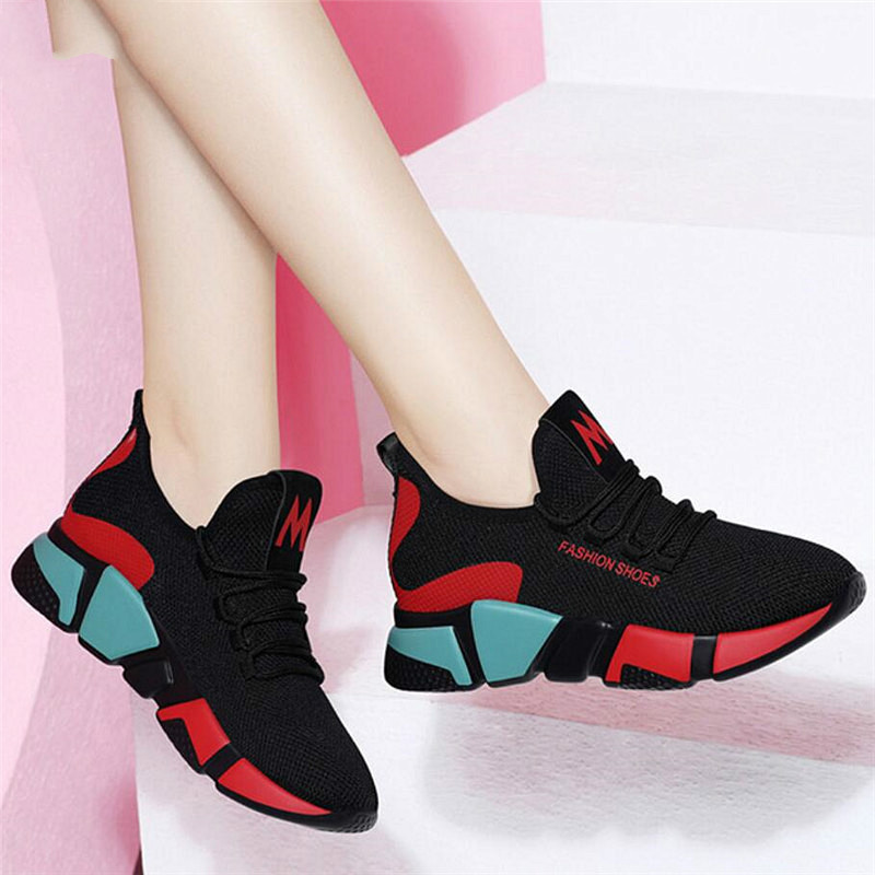 LZJ 2019 Spring Women Fashion Mesh Lace-up Sneakers Vulcanized Shoes Ladies Casual Shoes Breathable Walking Mesh Flats New