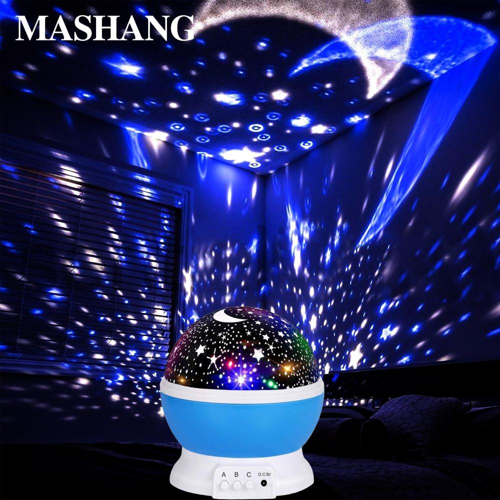 LED Night Light RGB Star Projector Lamp Moonlight Star Night Light USB Projector Christmas Gift Children Bedroom Decoration Lamp
