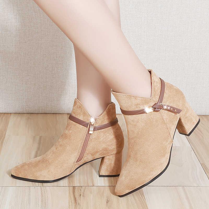 Moda pembe yüksek topuklu çizmeler yarım çizmeler kadınlar için kemer toka fermuar kısa çizmeler kare topuklu ayakkabı siyah bayan botları
