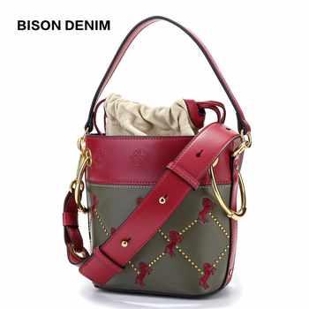 BISON DENIM Luxury Handbags Women Bags Designer Genuine Leather Bucket Bags for women 2018 Embroider Fashion Shoulder Bag B1606 - DISCOUNT ITEM  53% OFF All Category
