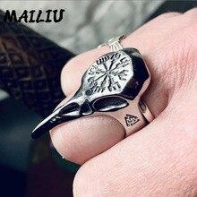 Мужское кольцо в виде вороны Викинга, винтажное серебряное кольцо в стиле панк, рок, хип-хоп, символ пиратской руны, амулет, ювелирные издели...